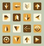 Vektoruppsättning: Retro knappar för stillägenhetpil royaltyfri illustrationer