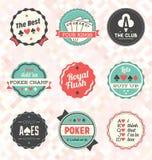 Vektoruppsättning: Retro pokeretiketter och symboler stock illustrationer