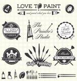 Vektoruppsättning: Retro stilmålare Labels och symboler stock illustrationer