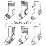 Vektoruppsättning: samling av roliga sockor Royaltyfri Illustrationer