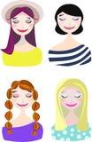 Vektoruppsättning, samling med trevliga le flickor _ stock illustrationer