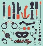 Vektoruppsättning: Vuxna leksaksymboler och symboler Arkivfoto