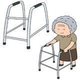 Vektoruppsättningen av äldre kvinna går genom att använda fotgängaren royaltyfri illustrationer