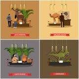 Vektoruppsättningen av affischer, baner med museumutläggningar planlägger beståndsdelar stock illustrationer