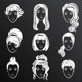 Vektoruppsättningen av avatarfrisyrer för vita kvinnor stiliserade logouppsättningen Kvinnligt emblem för symboler för hårstil på royaltyfri illustrationer