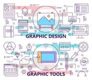 Vektoruppsättningen av baner med grafisk design och diagrammet bearbetar begreppsmallar Modern tunn linje lägenhetdesignbeståndsd Royaltyfria Foton
