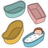 Vektoruppsättningen av behandla som ett barn badet badar stock illustrationer