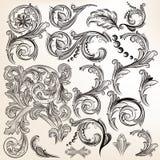 Vektoruppsättningen av calligraphic tappning virvlar runt för design Royaltyfria Bilder