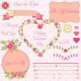 Vektoruppsättningen av dekorativa valentin blommar designbeståndsdelar i tappningstil royaltyfri illustrationer