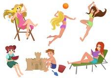 Vektoruppsättningen av den härliga nätta sommarkvinnastranden åtgärdar Flicka som kopplar av, läsa som spelar volleyboll Ungebygg royaltyfri illustrationer
