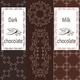 Vektoruppsättningen av designbeståndsdelar och den sömlösa modellen för mjölkar och mörk choklad som förpackar - etiketter och ba Royaltyfri Foto