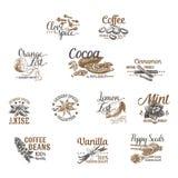 Vektoruppsättningen av efterrätten kryddar logoer, etiketter, emblem Fotografering för Bildbyråer