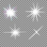 Vektoruppsättningen av glödande ljusa bristningar med mousserar Royaltyfria Bilder