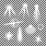 Vektoruppsättningen av glödande ljusa bristningar med mousserar stock illustrationer