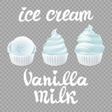 Vektoruppsättningen av glass kammar hem affischdesign med mjölkar vaniljvitteckenet Royaltyfri Fotografi