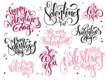 Vektoruppsättningen av hälsningar för dag för handbokstävervalentin smsar - den lyckliga valentindagen, älskar jag dig, skriftlig royaltyfri illustrationer