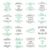 Vektoruppsättningen av handen drog logoer och etiketter för skönhet shoppar Arkivfoto