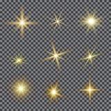 Vektoruppsättningen av ilsken blickbelysning, glimtlins blossar vektor illustrationer