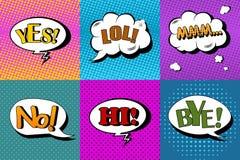 Vektoruppsättningen av komiskt anförande bubblar i stil för popkonst Planlägg beståndsdelar, textmoln, meddelandemallar Arkivbild