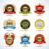 Vektoruppsättningen av 100% kvalitets- garanti, tillfredsställelse garanterade etiketter, stämplar, baner, förser med märke, vape Arkivbild