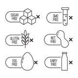 Vektoruppsättningen av mat bantar etiketter stock illustrationer