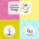 Vektoruppsättningen av modeller, etiketter och logoen planlägger mallar för handen - gjord tvål som förpackar och inpackningspapp royaltyfri illustrationer