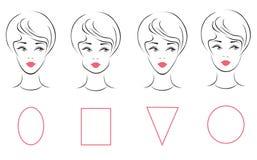 Vektoruppsättningen av olik kvinnlig framsidaform skriver Vektor Illustrationer