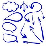 Vektoruppsättningen av pilar och samtalet bubblar, teckningar royaltyfri illustrationer