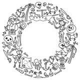 Vektoruppsättningen av piratkopierar barns teckningssymboler i klotterstil Målad svart monokrom, bilder på ett stycke av papper stock illustrationer
