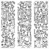 Vektoruppsättningen av piratkopierar barns teckningssymboler i klotterstil Målad svart monokrom, bilder på ett stycke av papper royaltyfri illustrationer