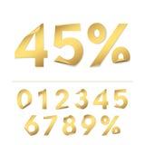 Vektoruppsättningen av realistiska guldpappersnummer för design av försäljningsbaner och avfärdar erbjudanden Arkivbilder