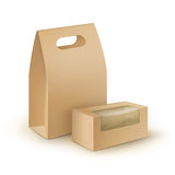Vektoruppsättningen av rektangeln för bruntmellanrumspapp tar bort handtaglunchaskar som förpackar för smörgåsen, mat, andra prod Royaltyfri Fotografi