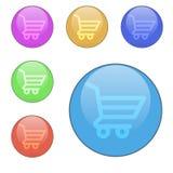 Vektoruppsättningen av rundan knäppas shoppingkorgar Arkivfoton