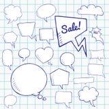 Vektoruppsättningen av samtal och funderare bubblar på anteckningsbokarket, grupp av klotteranförandebubles stock illustrationer