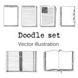 Vektoruppsättningen av skissar anteckningsböcker, Notepads och dagböcker Arkivfoton