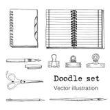 Vektoruppsättningen av skissar anteckningsböcker, Notepads och dagböcker Arkivbild