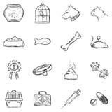 Vektoruppsättningen av skissar husdjursymboler royaltyfri illustrationer