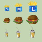 Vektoruppsättningen av snabbmatdrinken, hamburgare, steker Royaltyfria Bilder