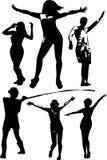 Vektoruppsättningen av svarta konturer av en flicka och en ung man i olikt poserar i rörelse Arkivfoton