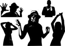 Vektoruppsättningen av svarta konturer av en flicka och män är midja-djupa i olikt poserar Royaltyfri Bild