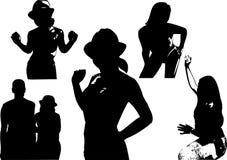 Vektoruppsättningen av svarta konturer av en flicka som midja-är djup i olikt, poserar Royaltyfria Bilder