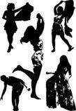 Vektoruppsättningen av svarta konturer av flickor i olikt poserar av rörelse Royaltyfri Foto