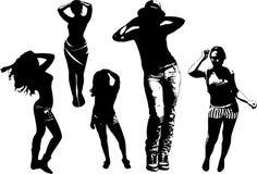 Vektoruppsättningen av svarta konturer av flickor i olikt poserar av rörelse, dansen, stående oavkortad tillväxt Arkivbilder