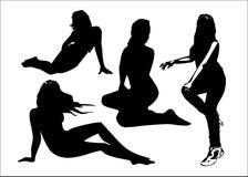 Vektoruppsättningen av svarta konturer av flickor i sammanträde poserar full tillväxt Kvinnor i elegant poserar på en vit bakgrun Fotografering för Bildbyråer