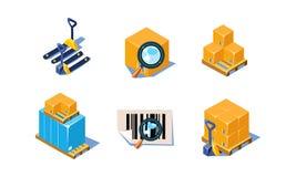 Vektoruppsättningen av symboler 3D gällde lager- och godstemat Dokument med förstoringsglaset, askar på paletter som laddar vektor illustrationer