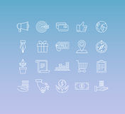 Vektoruppsättningen av 20 symboler och undertecknar in den mono linjen stil Arkivfoton