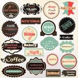 Samlingen av tappning märker kaffe, glass och kvalitets- för D Royaltyfri Fotografi
