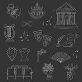 Vektoruppsättningen av teatersymboler räcker utdraget, klotter Arkivbild