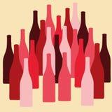 Vektoruppsättningen av vin eller vinäger buteljerar konturer vektor illustrationer
