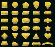 Vektoruppsättningen formar och guldetiketter för meddelande Royaltyfri Bild